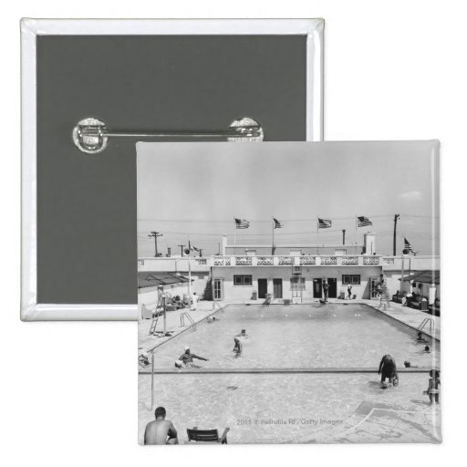 People relaxing in outdoor pool B&W elevated Pin