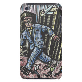 People running from giant businessman Color Case-Mate iPod Touch Case