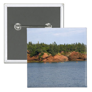 People sea kayaking in the Bay of Fundy at St. 2 Inch Square Button