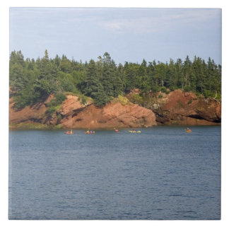 People sea kayaking in the Bay of Fundy at St. Tile