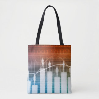 People Standing on a Bar Chart Tote Bag