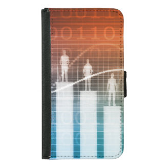 People Standing on a Bar Chart with Different Leve Samsung Galaxy S5 Wallet Case