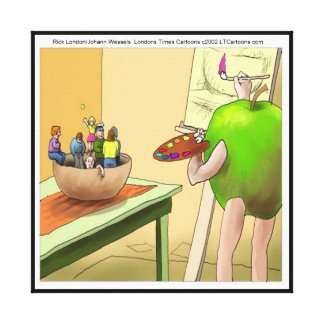 People Still Life Funny Cartoon Canvas Print Stretched Canvas Print