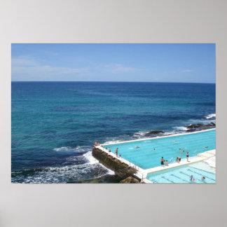 People swimming at Ocean Pool, Bondi Beach Sydney Poster