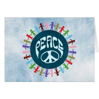 People united around the world in a peace symbol card