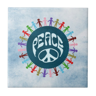 People united around the world in a peace symbol ceramic tile