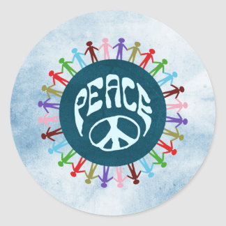 People united around the world in a peace symbol classic round sticker