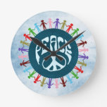 People united around the world in a peace symbol round wall clocks