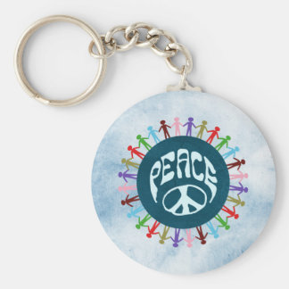 People united around the world in a peace symbol keychain