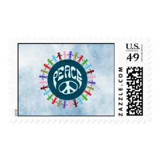 People united around the world in a peace symbol postage