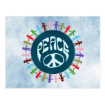 People united around the world in a peace symbol postcard