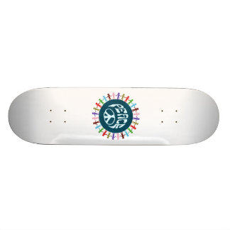 People united around the world in a peace symbol skate board deck