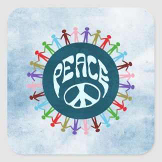 People united around the world in a peace symbol square sticker