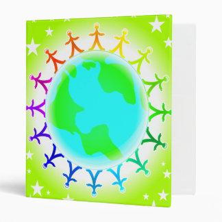 People united atop world globe binder