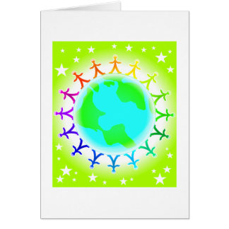 People united atop world globe card