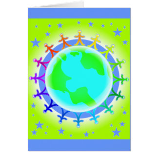 People united atop world globe greeting card