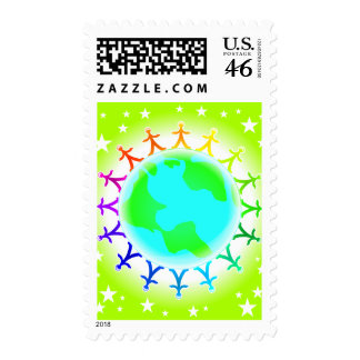 People united atop world globe postage stamps