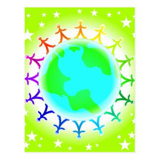 People united atop world globe postcards