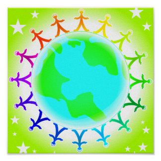 People united atop world globe poster