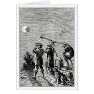 people watching a solar eclipse greeting card
