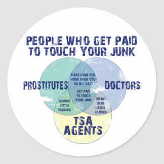 People Who Get Paid To Touch Your Junk! Classic Round Sticker