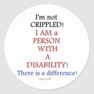 PEOPLE WITH DISABILITIES 2 CLASSIC ROUND STICKER