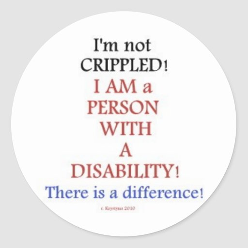 PEOPLE WITH DISABILITIES 2 ROUND STICKERS
