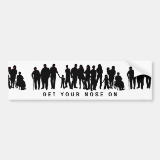 People with red noses design bumper sticker