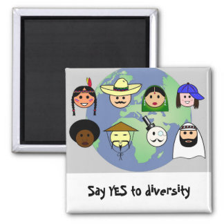 People worldwide anti racism pro diversity 2 inch square magnet