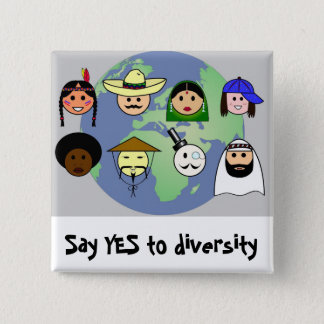 People worldwide anti racism pro diversity pinback button