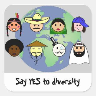 People worldwide anti racism pro diversity square sticker