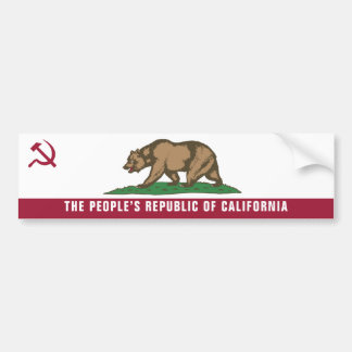 People's Republic Of California Bumper Sticker Car Bumper Sticker