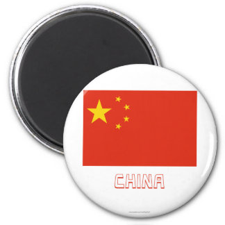People's Republic of China Flag with Name 2 Inch Round Magnet