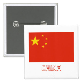 People's Republic of China Flag with Name Pinback Button