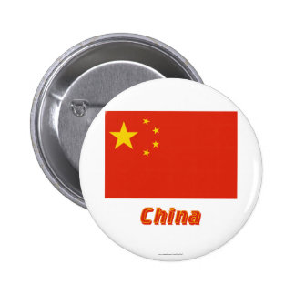 People's Republic of China Flag with Name Pinback Buttons