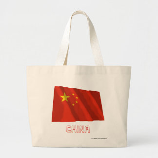 People's Republic of China Waving Flag with Name Large Tote Bag