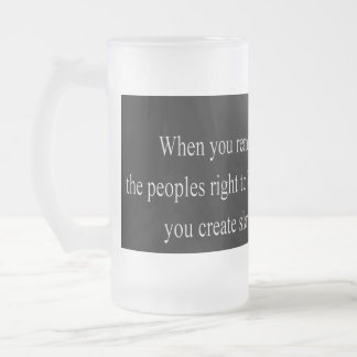 people's right to bear arms frosted glass beer mug