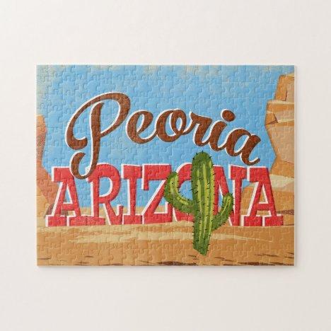 Peoria Arizona Cartoon Desert Vintage Travel Jigsaw Puzzle