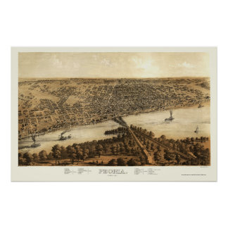 Peoria, IL Panoramic Map - 1867 Poster