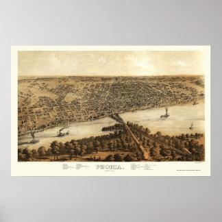 Peoria, IL Panoramic Map - 1867 Poster
