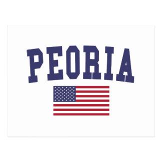Peoria IL US Flag Postcard