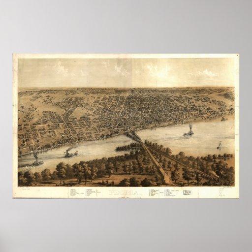 Peoria Illinois 1867 Antique Panoramic Map Poster