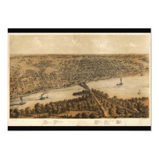 """Peoria Illinois (1867) Invitación 5"""" X 7"""""""