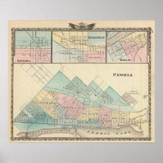 Peoria, Oneida, Knoxville y Dallas Poster