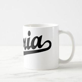 Peoria script logo in black coffee mug
