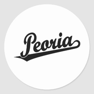 Peoria script logo in black classic round sticker