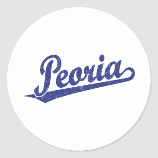 Peoria script logo in blue distressed classic round sticker