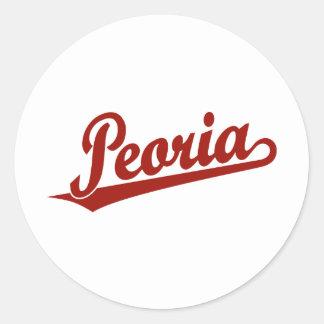 Peoria script logo in red classic round sticker