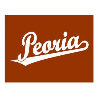 Peoria script logo in white postcard