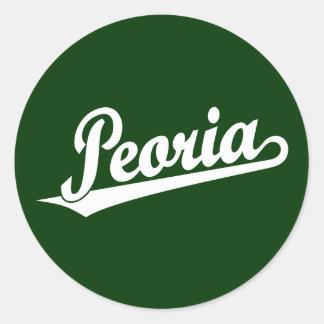 Peoria script logo in white classic round sticker